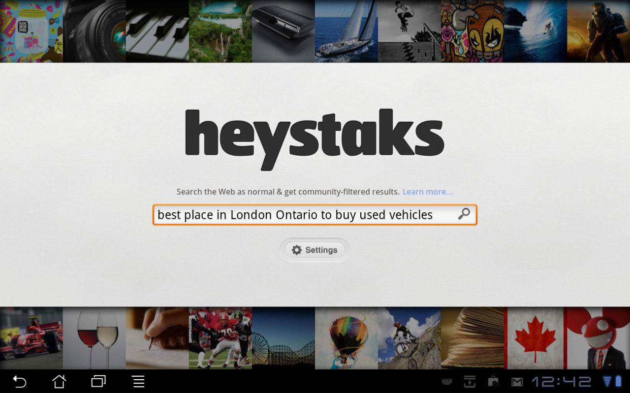 Main search page screenshot for HeyStaks Social Search HD Android tablet App