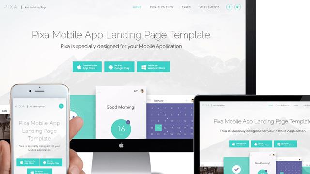 Pixa mobile app landing page WordPress theme