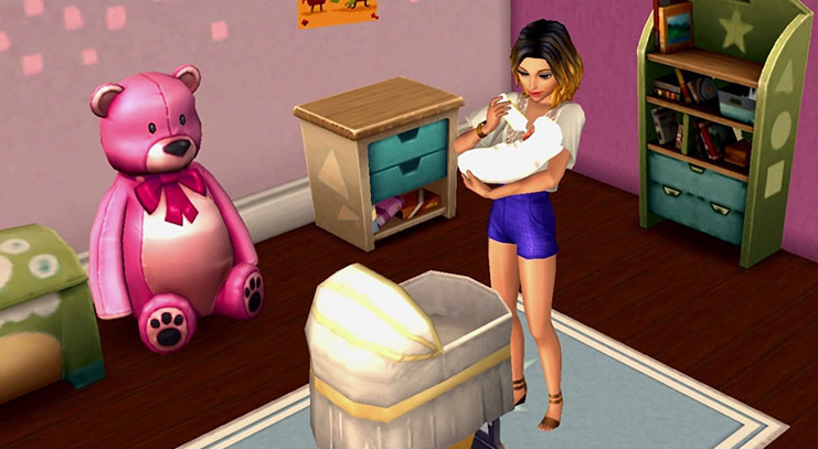 The Sims Mobile mother bottle feeding her baby