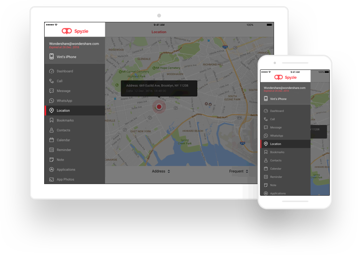 Spyzie iPhone GPS location monitoring