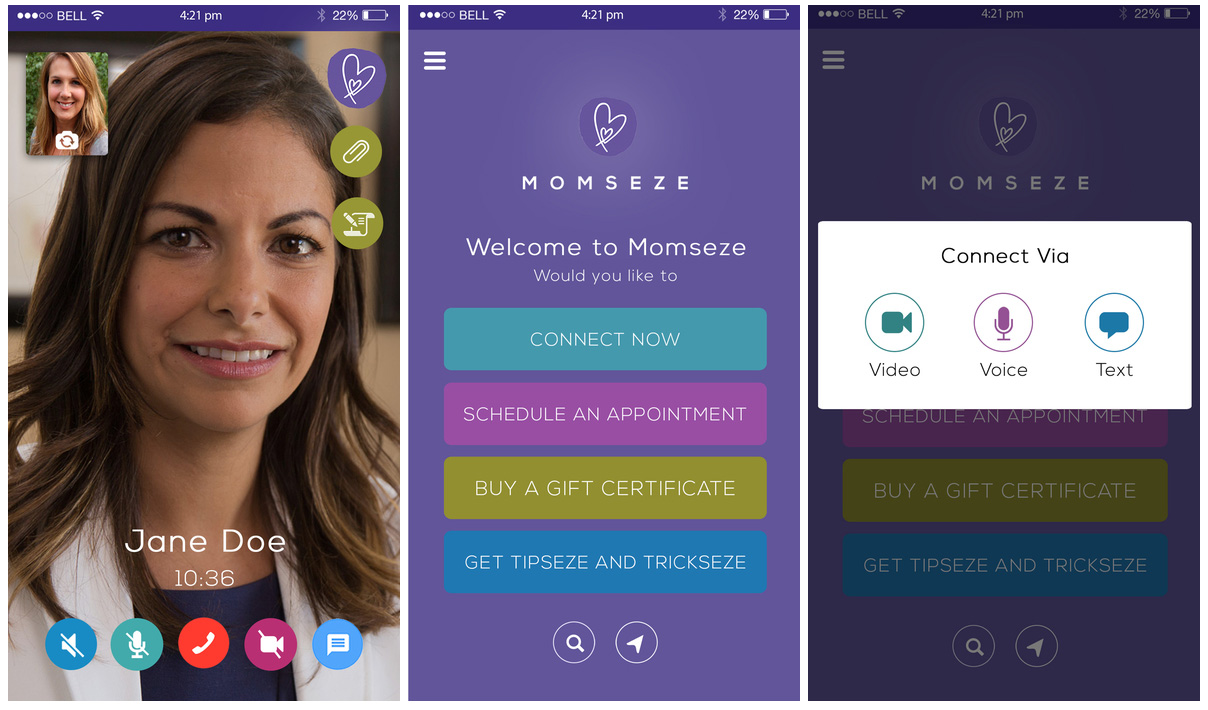 Momseze iOS app screenshots