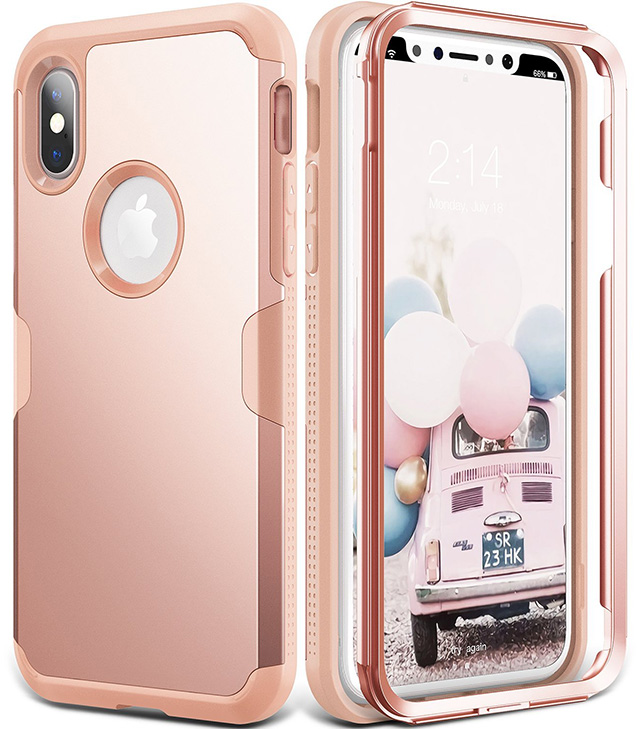 YOUMAKER Rose Gold Full Body IPhone X Case