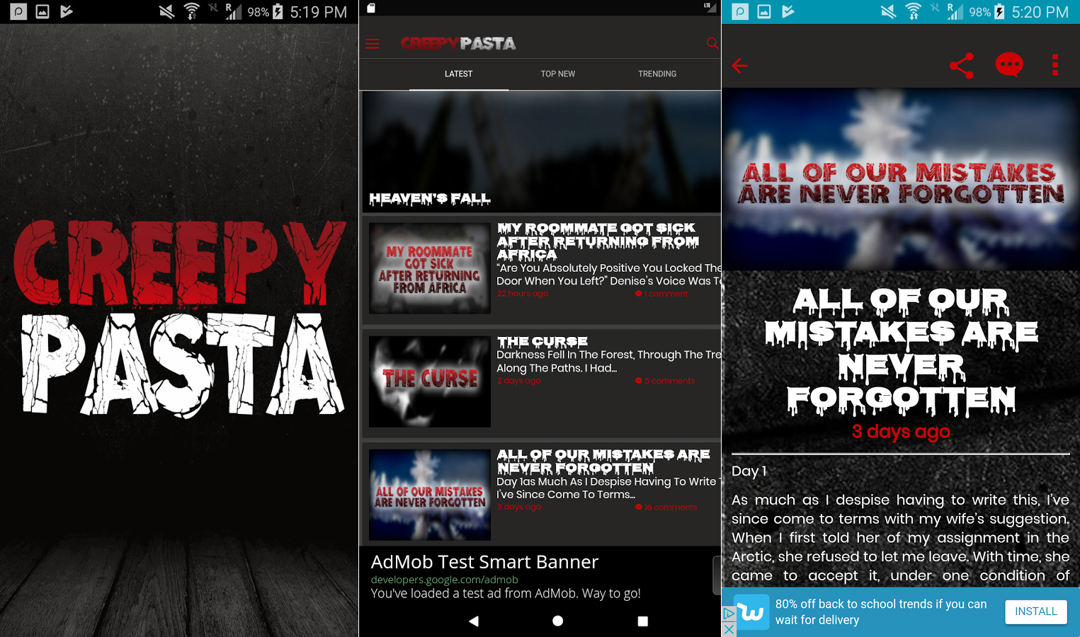 Creepypasta Android app screenshots
