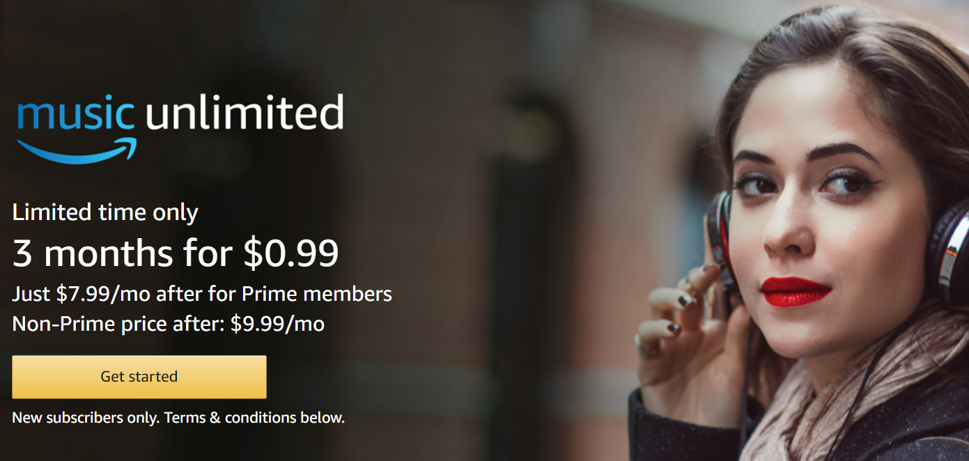 limited time deal for new Amazon Music Unlimited subscribers