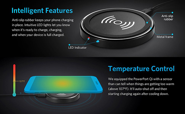 Anker mobile device wireless charger with temperature control